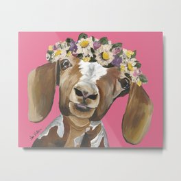 Flower Crown Goat, Goat Painting Metal Print