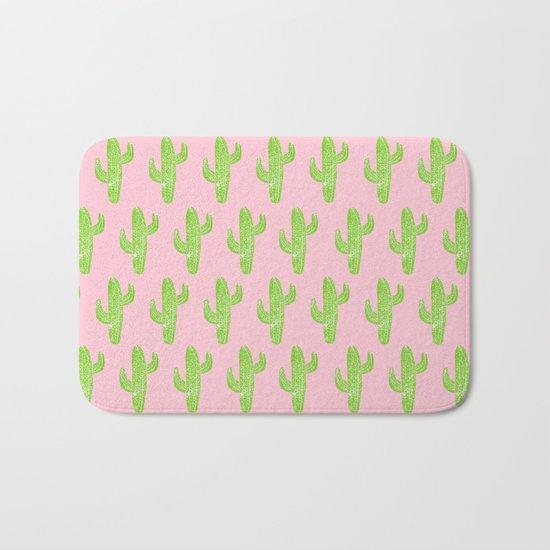 Linocut Cacti Minty Pinky Bath Mat