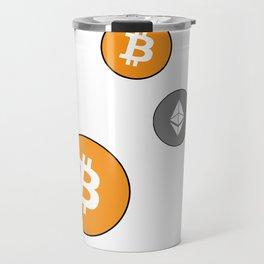 Ethereum and Bitcoin Pattern Travel Mug