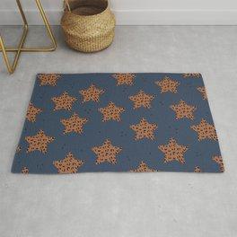 Leopard Star Navy Patern Design Print Rug