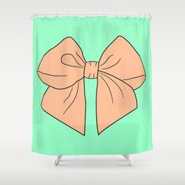 Peachy Keen Vector Bow Shower Curtain