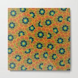Morelia Flowers Multi Floral Pattern in Mid Mod Olive, Navy, Teal, Mustard, and Orange Metal Print