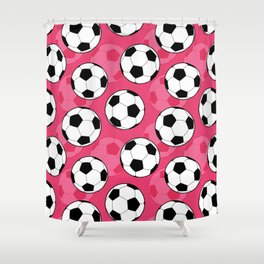 Soccer Ball Pattern with Pink Background Shower Curtain