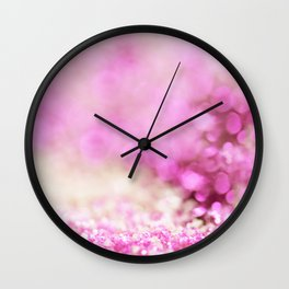 Pink and white shiny glitter effect print - Sparkle Valentine Backdrop Wall Clock