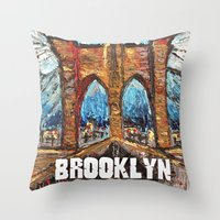 brooklyn bridge Throw Pillows featuring Brooklyn Bridge by creativebloch.com