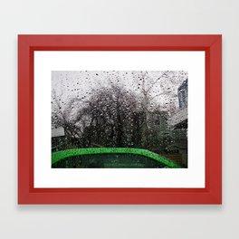 Green Car and Rain Framed Art Print