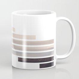 Grey Minimalist Mid Century Modern Inca Watercolor Stripes Staggered Symmetrical Pattern Coffee Mug