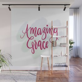 Amazing grace - pink brush script Wall Mural
