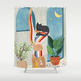 Headstand #illustration #yoga #pets Shower Curtain
