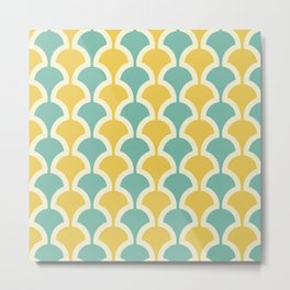 Classic Fan or Scallop Pattern 432 Turquoise and Yellow Metal Print