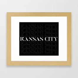 Kansas City Minimalist Dark typography linear design Framed Art Print