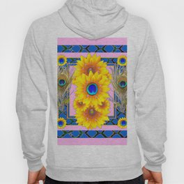 PINK-BLUE PEACOCK SUNFLOWERS DECO JEWELED Hoody