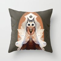 lord of the ring Throw Pillows featuring Ytuty Lord of Owls by Mark Facey