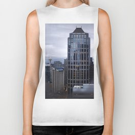 Seattle Skyline and Space Needle on a Cloudy Day Biker Tank