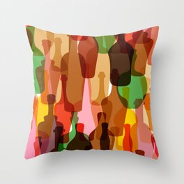 Colored silhouettes of wine bottles.  Throw Pillow