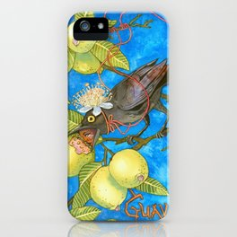 Fruits and Fantasy: Guava/Blackbird iPhone Case