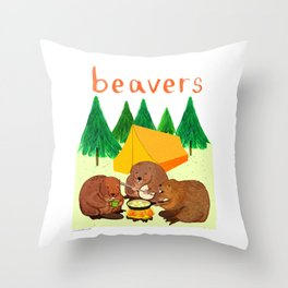 Beavers Illustration Throw Pillow