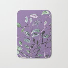 Silky Lavender Greenery Leaves Bath Mat