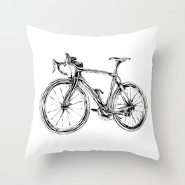 Wooden Bicycle Throw Pillow