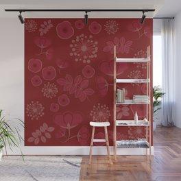 Marsala flowers pattern Wall Mural