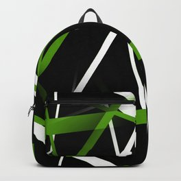Seamless Grass Green and White Stripes on A Black Background Backpack