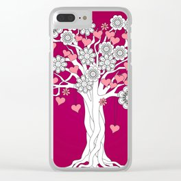 romantic tree on vinous Clear iPhone Case