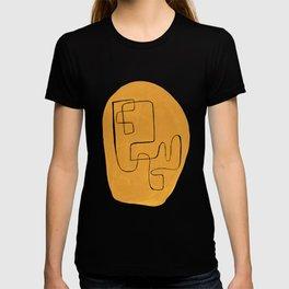 Enshape by Ejaaz Haniff 'Yellow Maze' Mid Century Modern Minimalist Maze Pattern Line Drawing Funky Cool Vintage Style T-shirt