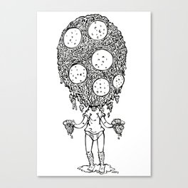 Melting pizza dude, Ink Canvas Print