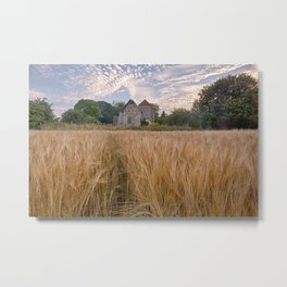 Wheatfields To The Church Metal Print