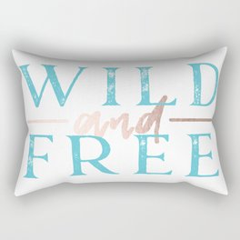 Wild and Free Turquoise Rose Gold Rectangular Pillow