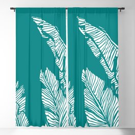 Banana Leaves on Teal Blackout Curtain