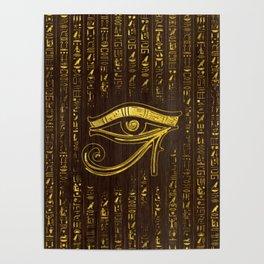 Golden Egyptian Eye of Horus  and hieroglyphics on wood Poster