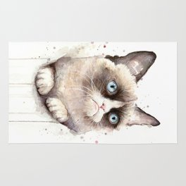 Grumpy Watercolor Cat Animals Meme Geek Art Rug