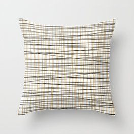Line Art - Gold and Black Lines on White - Mix and Match with Simplicty of Life Throw Pillow