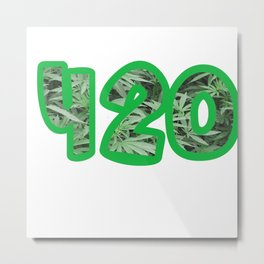420 I Cane Pipe Grass I Cannabis Weed | Joint build I gift idea Metal Print