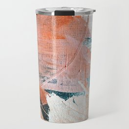Interrupt [2]: a pretty minimal abstract acrylic piece in pink white and blue by Alyssa Hamilton Art Travel Mug