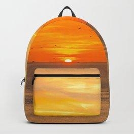 Sunset Coast with Orange Sun and Birds Backpack