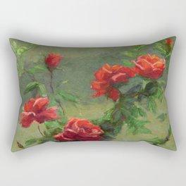 Red Roses in Soft Sunlight Rectangular Pillow