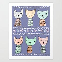 Kokeshi Kitties with Purple Background Art Print