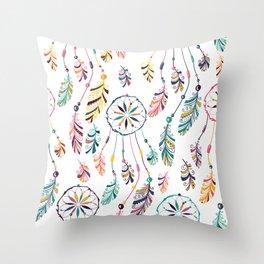 White Dreamcatcher Throw Pillow