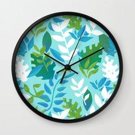 Dinosaur Leaves - Blue Wall Clock