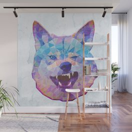 abstract rainbow wolf Wall Mural