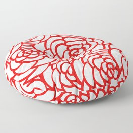 Red and White Camellias Flowers Floral Design Floor Pillow
