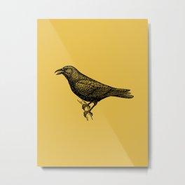 Crow (Light Mustard) Metal Print