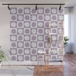 Purple And White Checkered Flower Pattern Wall Mural
