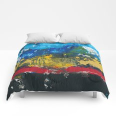 Lucas Abstract Painting Blue Black Yellow Comforters