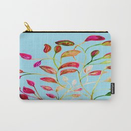 Red and Green Leaves on Light Blue Carry-All Pouch