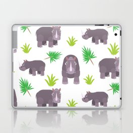 Funny hippo with green leaves Laptop & iPad Skin