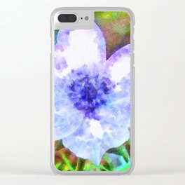 Blue Anemone Watercolor Clear iPhone Case