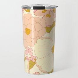 Pink Pastel Vintage Floral Pattern Travel Mug